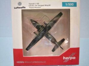 "HERPA WINGS 1:500 SCALE DIECAST "" TRANSALL C-160 LTG 62/AIR TRANSPORT "" 529525"