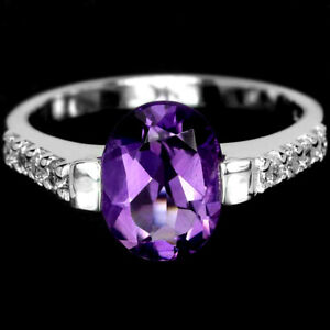 NATURAL AAA PURPLE AMETHYST OVAL & WHITE CZ STERLING 925 SILVER RING SIZE 6.75