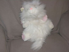 "VINTAGE GANZ BROS STUFFED PLUSH WHITE FLUFFY PERSIAN GOOGLES CAT 1988 15"" 23"""