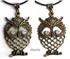 large 55mm bronze rhinestone owl bird on black leatheroid Necklace