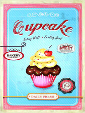 Cupcake Daily Fresh, Retro Vintage Aluminium Sign Gift, Kitchen