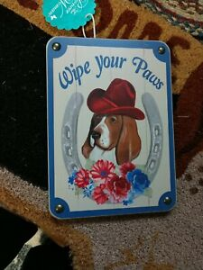 Pioneer Woman Charlie Basset Hound Doormat & Wipe Your Paws Sign