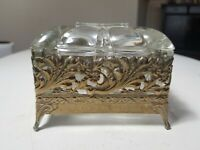 Vintage Gilded Metal Filigree Floral w/ Scallop Glass Insert Jewelry Trinket Box