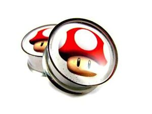 Super Mario Double Flared Surgical Steel (316L) Gauges / plugs 2 Piece (1 Pair)