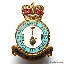 RAF 279 Maintenance Unit MU - 1950s Buttonhole Brooch Badge - Royal Air Force