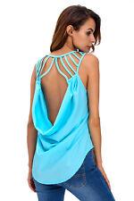 Maglia maglietta traforata aperta nudo T-shirt Cut-out Back Clubwear Top S