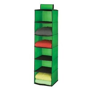 Hanging Closet Organizer 6 Shelf Non-Woven Honey-Can-Do Green 12 x 12 x 47 inch