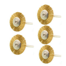 5PCS 3mm Shank Brass Rotary Wire Wheel Shape Brush for Dremel Die Grinder Tools
