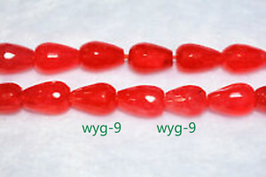 New 8x12mm orange red ruby drop faceted gemstone loose beads 15 inches