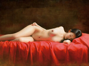 """Original Oil Painting female art chinese nude girl on canvas 30""""x40"""""""