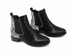 NEU Damen Stiefeletten Chelsea Boots Animal Print Booties Ketten Stiefel Schuhe