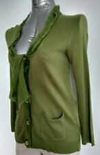 JIGSAW silk angora cardigan size S --MINT-- green fine knit 100% Silk trim