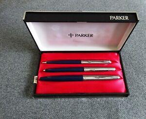 Vintage Blue Parker 45 Ballpoint Pen, Fountain Pen & Pencil Boxed Set