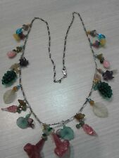 "sterling silver necklace, vintage, glass charms. Great condition,  26"" long"