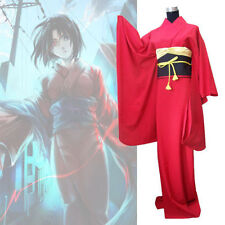 Japan Traditional Women Ryougi Shiki Red Furisode New Kimono Set Cosplay Costume