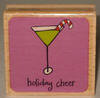 """Katie & Co. Rubber Stamp Christmas Cocktail Martini Candy Cane """"Holiday Cheer"""""""