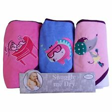Girls, Animal Design, Hooded Bath Baby Infant Towel Set, 3 Pack Knit Terry, F...