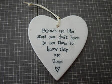 East of India Porcelain Hanging Heart Decoration - Friends Are Like Stars