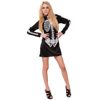 Women's Skeleton Costume Fancy Dress Halloween Party Cosplay Outfit for Ladies