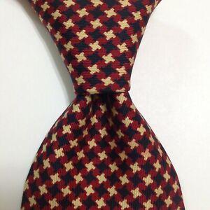 DRAKE'S Men's 100% Silk Necktie ENGLAND Luxury Designer HOUNDSTOOTH Red/Blue EUC