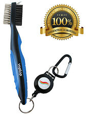 Golf Brush and Club Groove Cleaner - Easily Attaches to Golf Bag - Blue