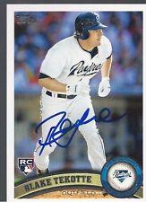 San Diego Padres BLAKE TEKOTTE Signed 2011 Topps Card