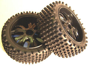 BS937-002 1/10 Scale RC Buggy Off Road Wheels and Tyres x 2 Black Oversized Rear