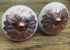 Pair Of Rose Gold / Copper & White Ceramic Door Knob Handles Screw On