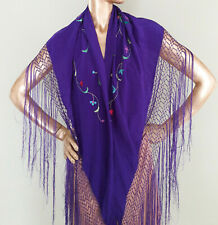VTG Silk Shawl Purple Embroidered Flowers Fringe Flamenco Dance manton triangle