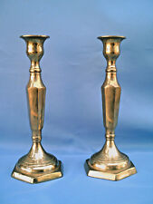 """VINTAGE Set Of 2 Solid Heavy Brass Candlesticks Candle Holders 9.5"""" Hexagon Base"""