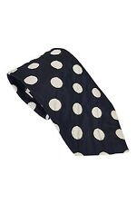 "*PAUL SMITH* NAVY WITH WHITE POLKA DOTS SILK TIE (58"")"