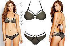 """Bikini donna costume da bagno mare spiaggia microrete """"incroci""""  nuovo #"""