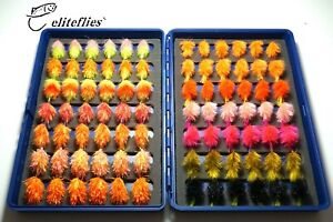 eliteflies 84 Comp Barbless Blob lures box fly fishing flies trout neon pseudo