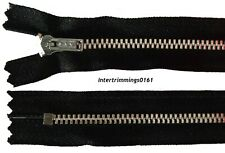 "YKK ZIP, BLACK, 11.5"" & 16"", ALUMINIUM TEETH CLOSED END, NO 3"
