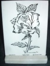 Montana Marble Decorative Plaque Desk Accessory Cultured Etched Rose  8027
