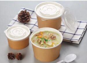 Takeaway 530ml (16oz) Food-grade Greaseproof Kraft Paper Bowl with Lid 250pcs