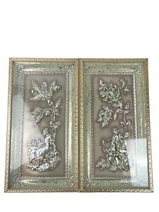 2 Vintage 1950's FOUR SEASONS by METALCRAFT 3D Acorns & Rose Cupid Angels