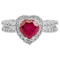 Heart -Ruby & Cz 925 Sterling Silver Ring Jewelry DGR1070_A