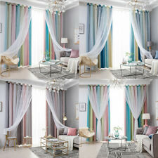 Double-layer Curtains Fantasy Starry Curtain Blackout Floor Girls Bedroom Decor