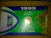 1999 United Kingdom BU Mint Sealed 2 Pound Commemorative - Rugby World Cup