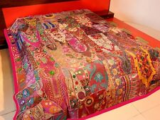 Vintage Patchwork Bedspread Hand Embroidery Bed Cover Throw Wall Hanging Curtain