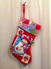 "SNOWMAN Felt Christmas Stocking HAND SEWN EMBELLISHED 19"""
