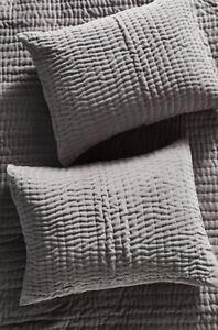 Anthropologie Kantha-Stitched Velvet 2 Shams In Gray