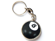 POOL BALL 8 Ball Sport Quality Chrome Keyring Picture Both Sides