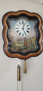 Antique 18th Century Wiggle Waggle Reverse Painted Glass Front Wall Clock