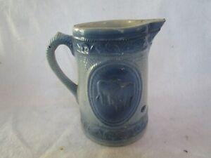 Antique Blue & White Salt Glaze Stoneware Pottery Pitcher with Cows