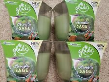 4 Glade Acoustic Sage LIMITED EDITION 6.8 Air Freshener 3 WICK CANDLES Brand New