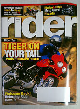 RIDER MAGAZINE BACK ISSUE HARLEY HONDA 2005 FEBRUARY TRIUMPH TIGER MOTO GUZZI