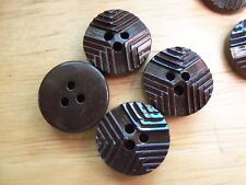 8 SHINY BROWN VINTAGE CASEIN PLASTIC RIDGED DECO Buttons NOS SEWING CRAFTS 14mm