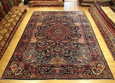 10x13 Signed Handmade Wool Rug Antique 1940 Persian Pictorial Kashmar -Excellent